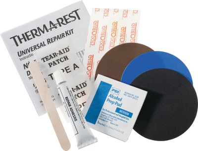 Camp and Hike This Universal Repair Kit provides fast, permanent, in-the-field repairs for self-inflating Therm-A-Rest mattresses. Includes an alcohol prep pad, cover patches, Hot Bond and applicator. Made in USA. - $5.88