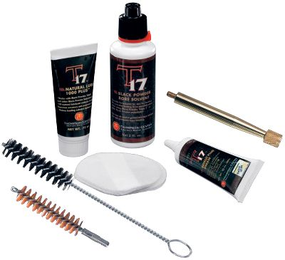 Fitness Keeping your muzzleloader clean is paramount to its performance and protection from corrosion. These cleaning products are specially engineered to clean firearms using Hodgdon Triple Seven propellants. Run the 2-1/2, bore-cleaner-saturated patches through the barrel to clean. To clean your breech plug, drop it into the cleaner, shake for 30 seconds, and wipe it down. Spray Foaming Bore Cleaner into your barrel, and let it sit an hour. It eliminates caked-on fouling and the need for brushing. Use T-17 black-powder solvent in a handy spray bottle to penetrate and remove tough residue on all muzzleloader components.Effective for black powder and black-powder substitutes. Products are available individually, or in a packaged T-17 Muzzleloader Cleaning Kit. Individual products include: Saturated Patches (per 50) Breech Plug Cleaner Foaming Bore Cleaner (7-oz. can) Black Powder Solvent (8-oz. spray) Color: Black. Type: Cleaning Accessory. - $7.99
