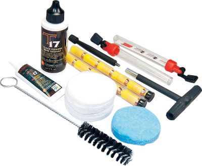 Kit includes: 2-oz. bottle of T-17 Bore Cleaning Solvent; 1/2-oz tube of T-17 Breech Plug Anti-Seize Grease; 40 cleaning patches; 25 seasoning patches; breech thread cleaning brush; T-handle short starter; ten .50-cal. 250-gr. Shockwave Super Glide sabots; extended polymer cleaning jag; and two Speed Shots. - $39.99