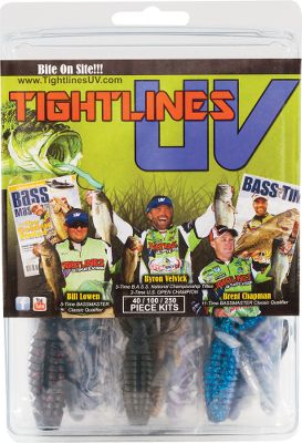 Fishing Dive em to the bottom, fish see these UV-reflective baits four to seven times better than conventional plastics. Tightlines has puts two colors into each soft bait, one gathers natural sunlight like a conventional bait, and the other powers up your bait by reflecting ultraviolet light. Since UV rays make up to 80% of the light in shallow water and 100% of the light in deep water, this advancement will have more fish seeing and striking your bait. Includes: Two Lizards Two Venkos Two Tubes Two Grubs Two Double-Tail Grubs Four Hogs Four Trailers Four Beavers Four Craws Six Crappie Baits Eight Worms Size: UV KIT W. Color: Natural. Gender: Male. Age Group: Adult. Type: Kits. - $19.99