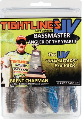 Fishing 2012 Bassmaster Angler of the Year, Brent Chapman, selected his top 40 most productive baits for this convenient pro pack. The baits feature UV technology that gives you the edge in murky water and low-light conditions. Its all youll need to catch bass in nearly any situation. Pro pack includes: six UV Beavers, five UV Hogs, 14 UV Worms, three UVenkos, seven UV Craws, three UV Jig Trailers, one UV Jerk and four UV Grubs. Size: UV CHAP PRO PK-40PC. - $11.88