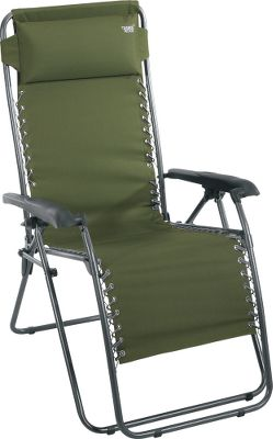Camp and Hike The Timber Ridge Zero-Gravity Lounger easily locks into a sitting or reclining position. The bungee suspension system delivers unbeatable comfort thats further enhanced by the adjustable foam headrest, lumbar-supportive design and ergonomic armrests with secure-locking levers. Heavy-duty, powder-coated, rust-resistant steel frame stands up to years of abuse. Moisture-, tear- and abrasion-resistant upholstery is constructed of highly durable, PVC-coated, 600-denier polyester, so it stays looking good. Folds and transports easily. Imported. Weight capacity:250 lbs. Dimensions: 45H x 22W x 20D. Weight: 22 lbs. Seat width:20. Color:Olive. Size: OLIVE. Color: Timber. Type: Chairs. - $49.88