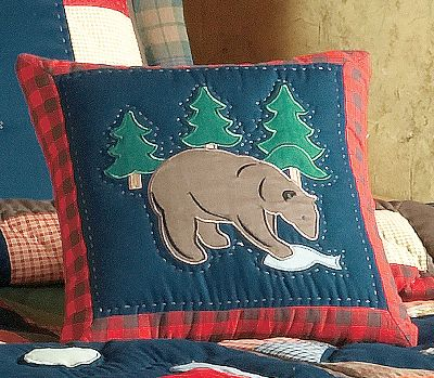Fitness Outfit your bedroom or couch with the rustic charm and soft feeling of the Timberline Bear Pillow. This hand-stitched accent pillow is specifically made to complement the colors and plaids of the Timberline Bedding Collection. Machine wash cold, gentle cycle. Imported.Dimensions: 14 x 14. Type: Pillows. - $24.99