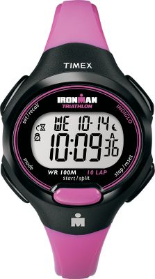 Fitness Effortlessly track your workouts and increase your level of fitness with the Timex Womens Ironman 10-Lap Watch. The 100-hr. chronograph with lap and split option, 10-lap memory recall and 24-hr. countdown timer log your progress. Oversized digits provide easy readability, even when running. Two time-zone settings and alarms. Durable resin strap. Water-resistant to 100 meters.Case diameter: 35mm.Colors: Pink Dial/Grey Strap. - $44.99