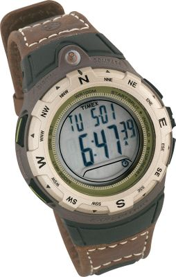 "Camp and Hike The Adventure Tech Series is made to keep up with your active lifestyle, this watch in Timex's AT series features the Indiglo night-light display option, a water-resistant brown leather strap and the latest, most durable components. With the AT Digital Compass, take all the chronometer, watch and durability features of the AT Chrono Alarm Timer and add in a digital compass based on 16 cardinal points measured in degrees. Display even has a virtual compass needle and leveling bubble for enhanced accuracy. Night-Mode feature makes night reading easy. Case diameter: 1.6"". - $59.88"