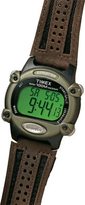 From sea level to high altitudes, the Timex Expedition Watch is the choice of outdoor enthusiasts unafraid of extremes. The easy-to- read digital display is outfitted with Indiglo for quick reference in low light. Set for dual time zones in 12- or 24-hour time format. 100-hour chronograph with lap or split option. 100-hour countdown timer. 99-lap counter. Alarms for day, week and weekend. One-year warranty. Case diameter: 1.5. Color: Black. Gender: Male. Age Group: Adult. - $54.99