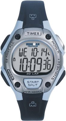 "Camp and Hike The Timex IRONMAN* Triatalon 30-lap watch has a chrome case, a black resin strap, water resistance down to 100 meters and a three-alarm feature. Imported.Case diameter: 1-1/2"". - $31.90"