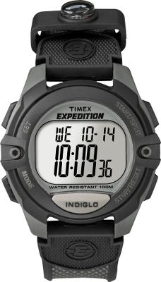 Camp and Hike The classic Timex digital chronograph watch with Indiglo backlight with night mode and a nylon/resin strap with mini compass. It has three alarms with daily, weekday, and weekend options, a 100-hour chronograph with lap or split times and dual time-zone settings. 100-hour countdown timer and 99-lap counter. 24-hour time and month, day and date on display. Water-resistant down to 100 meters, its ideal for active outdoor lifestyles. Battery included. Imported.Case diameter: 41mm. - $41.24