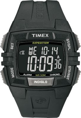 Camp and Hike Tough resin band frames this uniquely shaped timepiece. 100-hour chronograph with lap and split options, 24-hour countdown timer and 99-lap counter. Three daily, weekday or weekend alarms. Two time-zone settings. Indiglo night light. Water-resistant to 50 meters. Imported. Case dia:45mm. Color: Black. Color: Black. Gender: Male. Age Group: Adult. Type: Sports Watches. - $49.88