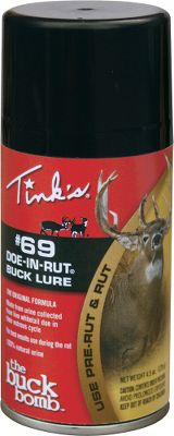 Hunting Tink's has partnered with Buck Bomb to create Tink's #69 Doe-in-Rut Buck Bomb. Partially depress the valve tab to release short bursts of scent or lock it down to empty the canister. 5 oz. - $4.88
