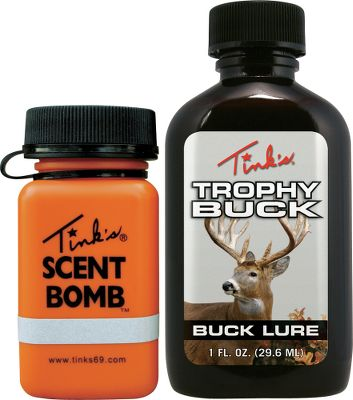 Hunting Tink's Trophy Buck Lure is reinforced with tarsal gland and interdigital gland secretions. This rutting odor induces a territorial challenge to a buck and provokes deer to seek out the intruder. Sizes: 2 oz. with Scent Bomb, 4 oz. bottle without Scent Bomb. Size: 2 OZ.. - $10.99