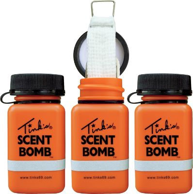 Hunting Tink's Scent Bombs are easy to use. Just open one of these bottles, saturate the wick, and hang the whole works in a tree to put more scent in the air. Bottles only. Add your favorite Tink's lures. Per 3. Type: Lures/Attractants. - $7.99