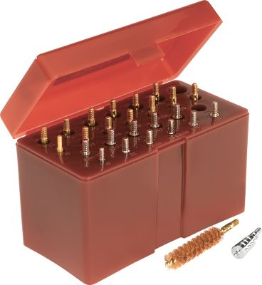 A convenient selection of precision nickel-plated brass jags and brass/copper bore brushes. Includes components for nearly every standard caliber between .17 and .45. All jags and brushes threaded 832 (.17 cal. threaded 540). Neatly organized in two mating hinged boxes with marked cavities, its easy to select the correct jag and brush for your particular application. Color: Copper. - $34.99