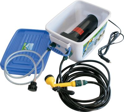 Fitness Wash a boat, camper or vehicle anywhere. All you need is a water source, such as a lake, stream or garden hose, and a 12-volt, 10-amp power supply. The self-priming, marine-grade pump's output is 4 gallons-per-minute and 100 psi. It can run dry without damage or overheating. A 6-ft. input hose has quick-connect fittings and a strainer to draw from any water source. The nozzle has six spray settings, a constant-on option, easy trigger action and connects to a 20-ft. spray hose. A provided power plug fits most vehicle lighter or accessory power ports. Handy portable storage box included. Type: Boat Maintenance. Type: Boat Maintenance. - $129.99