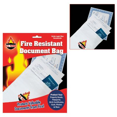 Protect and store deeds, passports, birth certificates, cash, photos and valuable documents from fire. Document Bag holds legal-size documents and withstands temperatures up to 1,000F. Dimensions: 0.24L x 8W x 10H. Weight: 0.38 oz. - $15.99