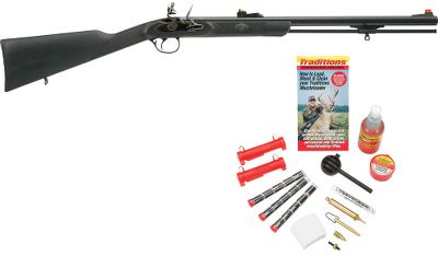 Hunting Everything you need to get started, all in one affordable kit. Traditions Deer Hunter flintlock muzzleloader is lightweight, easy to shoot and accurate. Its 24 octagonal barrel has a 1-in-48 rate of twist and is secured in a rugged synthetic stock for excellent balance and superb handling. The barrel accurately shoots full bore-sized bullets, sabots, and patched round balls. Adjustable Lite Optic sights are easy to see, even in low-light conditions. Synthetic ramrod. Flint not included. Requires 5/8 hand-knapped flint (sold separately).Barrel length: 24 octagonal.Overall length: 40.Weight: 6 lbs.Finish: Blued/Black.Rate of twist: 1 in 48.RediPak includes the following accessories - everything you need except powder and flint:Nipple PickBall PullerBullet StarterCleaning PatchesPan PrimerUniversal Fast LoaderLoading JagEasy Clean SolventPowder MeasurePowder Flask15 240 Gr. Sabot BulletsInstructional DVD - $299.88