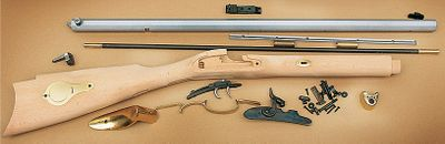 Hunting Build a keepsake with the Traditions St. Louis Hawken Rifle Kit and enjoy the precise accuracy of the finished rifle. Youll take enormous pride setting the beautiful brass stock inlay, as well as displaying the gun on a wall or fireplace mantle in your home. The octagonal barrel is rifled for patched ball loads. A long sighting plane between the front blade sight and adjustable rear sight delivers deadly accuracy. Color-case-hardened lock with V-type mainspring for fast lock time. Double-set trigger. Two-piece select hardwood stock. Authentic wooden ramrod. Percussion cap ignition.Barrel length: 28.Overall length: 44.Weight: 7 lbs.Rate of twist: 1 in 48. - $349.99