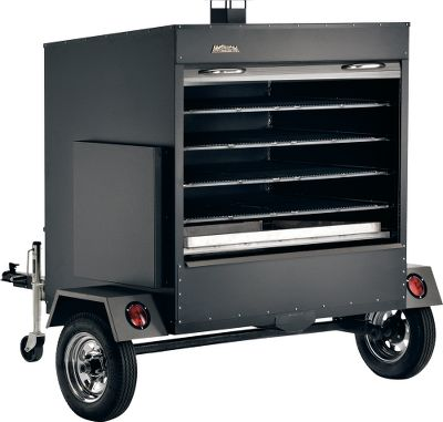 Camp and Hike Looking to get into the food industry? This commercial trailer offers simple grilling capabilities with maximum capacity and minimal labor. With 50 sq. ft. of cooking space, you can maximize your cooking time for large crowds and groups. Fit up to 224 chicken quarters, close the door, and reopen to serve 90 minutes later! It can also handle turkeys, prime ribeven whole hogs. Pellet hopper holds up to 40 lbs. of pellets. Hitch requires a 2 ball. Four-way standard electrical plug for trailer lights. Digital LED thermostat. Grilling area dimensions: 55L x 19W. Unit dimensions: 73H x 72W x 72D. Weight: 1,400 lbs. Please allow 4 to 12 weeks for delivery via motor freight. - $10,999.99