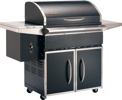 Camp and Hike With a 31L x 19W cooking area and a pellet capacity of 18 lbs., this large grill is perfect for smoking large cuts of meat and family cookouts. An externally mounted digital readout displays cooking temperature, allowing you to easily maintain your food without having to constantly stand by your grill. Generous storage space and side tables hold plates and grilling accessories. The 590 sq. in. cooking area has adjustable, 36,000 BTU burner. Wheels make relocation easy, and lock in place for grilling.Weight: 191 lbs. Dimensions: 46H x 57L x 25D.BTU: 36,000.Cooking area: 590 sq. in. Type: Pellet Grills. Black. - $1,399.99