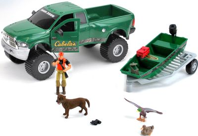 Hunting Includes the officially licensed Ram 3500 truck, a flat-bottom boat and a wheeled trailer with Cabelas logos and camo accents. Ammo box, gas can, dog, drake and hen mallards, fully jointed hunter, binoculars and gun. Ages 3+. Color: Camo. Type: Play Sets. - $24.99