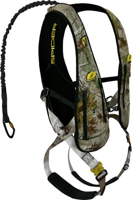 Hunting The lightweight, hunter-friendly Speed Vest is one of the most ingenious harness systems to date. Attach it to compatible ScentBlocker jackets using the exclusive Spider Speed Clips patented integration system. The X-Web fit figure-8 design eliminates excess straps and bulk. The vest goes on quick and can be adjusted in a flash with the one-pull shoulder and leg adjustments. Ario mesh back with contoured front and back panels increase comfort. Shock-absorbing bungee tether reduces the impact of a fall. Two easy-on, easy-off Venom leg buckles. Padded leg straps. Waist adjustment strap with YKK buckle. Two side zippered pockets for storage. Vertical climbing loops. Includes one Powerlink Aluminum carabiner, one adjustable treestrap, one suspension relief strap and one safety DVD. The Tree Spider Speed Harness does not include a Climbing Belt. Cabela's strongly recommends the use of a Tree Spider Climbing Belt for safe and secure attachment to the tree while ascending to or descending from a treestand. Tested to TMA standards. Imported.Weight capacity: 115-300 lbs.Sizes: S/M, L/XL, 2XL/3XL.Camo pattern: Mossy Oak Break-Up Infinity . A Video Public Service Announcement from theTREESTAND MANUFACTURERS ASSOCIATION - $169.88