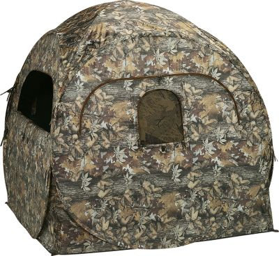 "Hunting The ultimate in transportable camouflage concealment and weather protection. 150-denier polyester shell comes in a realistic Autumn Leaf camo pattern and is UV treated. Windows on each side of the blind prevent game from sneaking in behind you. See-through and shoot-through screens allow you several different setup options. Black interior helps hide inside movements. Carry bag and tie-down stakes included. Imported.Weight: 14 lbs. Dimensions: 68""L x 68""W x 65""H. - $59.88"