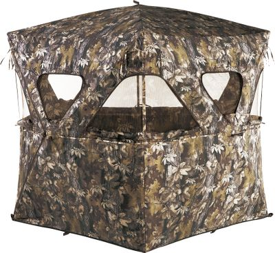 Hunting This lightweight, easy-set blind offers plenty of shooting options, with eight zippered windows and a large roof opening. Hub system sets up and takes down quickly and easily, making this a go-to option for run-and-gun hunting. Brushed fabric is weather-resistant and features a light-reducing black lining to keep you concealed. Windows feature removable hook-and-loop, shoot-through mesh. Full-seam zippered entrance is easy to get in and out of. Two accessory mesh pockets provide a place for a rangefinder, ammo and other necessities. Includes stakes, high-wind tie-downs and carry bag. Imported.Dimensions: 75W x 66H.Weight: 15 lbs.Camo pattern: Autumn Leaf - $99.88