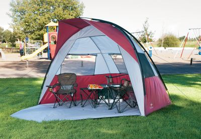 Camp and Hike Enjoy sun-beating comfort wherever you need it with this portable dome-style shade. It weighs only 9 lbs. 8 oz., yet offers a full 60 sq. ft. of shaded stretching room. The generously sized mesh windows promote cooling ventilation. It sets up fast with shock-corded fiberglass poles and pre-attached stabilizing guy lines. Heavy-duty polyester fold-out floor. Durable polyester-taffeta walls; polyester mesh windows. Imported. Floor size: 10'W x 6'D. Center height: 68. - $49.88