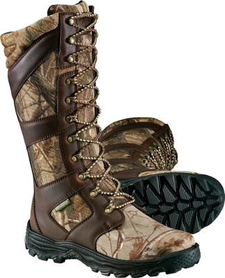 "Hunting Field-proven snakeproof protection and quality construction deliver lasting performance at an affordable price. Top-to-bottom Snake guard liners stop fangs like a brick wall for safe trekking through prairies, swamps and forests. These value-packed boots also feature 100% waterproof Aquashield barriers that reach the top of the tongue gussets for keeping feet dry. Super-tough, 900-denier nylon and leather uppers. Shock-absorbing midsoles and rubber outsoles. Padded Airmesh collars. Moisture-wicking linings. Imported.Height: 15"". Average weight: 4.2 lbs./pair. Men's sizes: 7-13 medium width; 9-13 wide width. Half sizes to 12.Camo pattern: Realtree AP. Type: Snake Boots. Size: 8 1/2. Shoe Width: D. Color: Realtree Ap. Size 8 1/2. Width Medium. Color Realtree Ap. - $109.99"