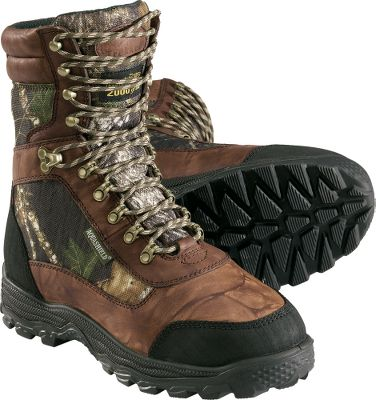 "Hunting Lightweight and comfortable, these tough, full-grain leather boots with 900-denier nylon panels are a great choice for hunting and scouting excursions. 2,000-gram Thinsulate Ultra Insulation adds warmth for hunts in extreme cold. A waterproof Aqua-Shield barrier wards off moisture. Removable, polyurethane insoles ensure that you can cover the miles you need to without exhausting your feet. Padded collars and tongues with moisture-wicking linings for dry comfort. Steel shanks provide lasting support. High-traction bob outsoles grip tough terrain without picking up debris. Abrasion-resistant rubber heel and toe guards. Imported. Height: 10"".Average Weight: 4 lbs./pair.Men's sizes: 8-13 medium width; 9-13 wide width.Camo pattern: Mossy Oak Break-Up . - $69.88"
