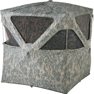 Hunting The quick setup and takedown hub system of this blind gets you situated faster for more time to enjoy your hunt. The weather-resistant polyester shell features a digital camouflage pattern suitable for multiple terrains. Eight zippered windows give you a 360 view of your terrain, and feature shoot-through digital-camo mesh with removable hook-and-loop attachments. One full-seam zippered entrance and one large roof opening. Light-reducing black backing reduces your visibility to game. Two mesh accessory pockets inside. Includes stakes, high-wind tie-downs and a carry bag for easy transport and storage. Imported.Weight:18 lbs. Dimensions: 58L x 58W x 65H. - $99.88