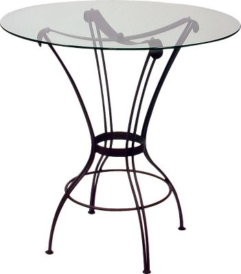 Entertainment This table is built for years of use with a welded-steel frame and thick 36'' glass top. The black, powder-coated finish not only looks nice but is also durable. Rungs connecting the tables legs make it comfortable to sit at. The circular glass top has a smooth, clear finish for a clean look. Coordinating bar stools are available in 26''H and 30''H; sold separately. Imported.Frame dimensions: 42''H x 26''W.Glass top dimensions: 36''W x 3/8''D. Type: Dining Tables. - $399.99