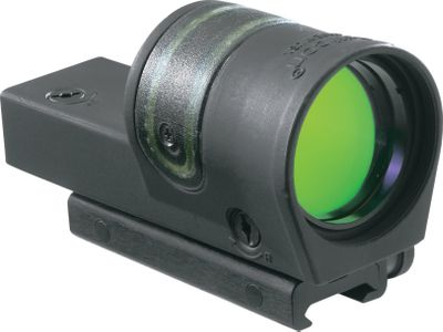 Hunting The Trijicon Reflex is a nonmagnified, self-luminous sight engineered for increased light-gathering capabilities. Its 42mm lens gives you the largest sight picture possible. Using innovative fiber optics, it adjusts the available light by automatically adjusting the brightness and contrast of the reticle. Parallax-free sighting enables fast, both-eyes-open target acquisition and accurate aiming. A Tritium Phosphor Lamp makes the 6.5-MOA amber-dot reticle glow for quick targeting without any batteries, and it has a guaranteed life of 15 years. Military-grade aluminum-alloy housing with adjustable windage and elevation. True-color 28-layer coated lenses for premium light transmission. - $570.00