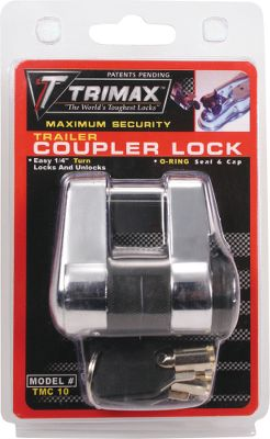Motorsports Secure your trailer to the hitch, or lock up your valuables using this latch lock. Hardened 1/4-chrome-plated steel shackle offers maximum security; and fits most existing coupler designs. Key fits couplers with up to 3/4 span. Weatherproof cap seals out grime and protects from corrosion. Protective rubber bumper prevents noisy rattling. Easy 1/4-turn of key locks and unlocks. - $14.99