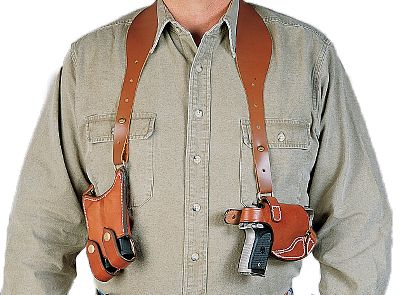 Easy fit, smooth action and fast draw combine to make this the Ultimate design in shoulder holsters. Made of high-quality tan leather that is handcrafted to fit you and your handgun. Dual harness fits comfortably over both arms; Thumb-snap provides a fast horizontal draw without spring or tension screws. Matched double clip pouch holds two magazines to complete this well-balanced team. Made in USA. - $49.88