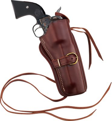 Carry your centerfire revolver in style. These Western-styled holsters are contoured to snugly hold the revolver. Heavy thong tie-down holds the holster securely on your leg. Can be used with the Wyoming or Deluxe Belt. Right hand only. Vegetable tanned top grade saddle leather. Made in USA. Available: 3-3/4, 4-5/8, 5-1/2, 6-1/2, 7-1/2 barrel lengths. Size: 6.5. Gender: Male. Age Group: Kids. Type: Cowboy. - $69.99