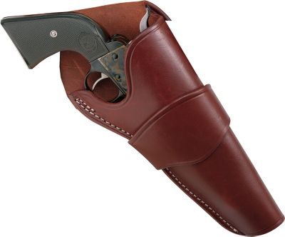 "This holster is a sure sign that its owner spends a lot of time in the saddle. The crossdraw allows the shooter to draw by reaching across his body. Authentically styled in patterns used by Old West shooters, these premium-quality holsters add just the right look to your cowboy-action shooting outfit. Fits most large-frame single-action revolvers and keeps them secure, yet ready for a quick draw. Right hand only. Made in USA.Available: 4-5/8"", 5-1/2"", 6-1/2"", 7-1/2"" barrel lengths. Type: Holsters. Size 6 1/2"". - $49.99"
