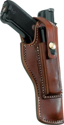Made from the finest top-grain leather available, the Triple K Magazine Pouch holster has a built-in magazine pouch to carry a spare magazine. Featuring a suede inner surface and fitted to minimize bluing wear, this holser fits the popular Ruger Mk I, II and III. The magazine is secured by the holster strap. Fits belts up to 2.25 wide. - $79.99