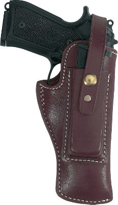 These full-grain leather holsters fit the most popular models of semi-auto pistols. An extra clip can be stored on the side of the holster and is held in place by the holster strap. Suede inner surface and fitted to minimize bluing wear. Fits belts up to 2-1/4 inches wide. Type: Traditional. - $79.99