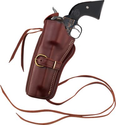 Entertainment Carry your single-action centerfire revolver in style. These Western-styled holsters are contoured to snugly hold the revolver. Heavy thong tie-down holds the holster securely on your leg. Can be used with the Wyoming or Deluxe Belt. Left-hand model. Made in USA. Available: 4-5/8 , 5-1/2 , 6-1/2 , 7-1/2 barrel lengths. Size: 7.5 LH. Gender: Male. Age Group: Kids. Type: Cowboy. - $69.99