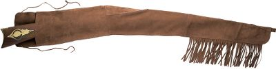 Suede-leather sleeve has hammer and front sight reinforcements sewn in to prevent wear-through. Fringe on bottom seam of barrel end for classic good looks. Folding flap with fastening ties secures firearm. Lengths: 53 or 60. Size: 60. Type: Misc. Accessories. - $64.99