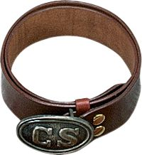 The C.S. Civil War Belt is constructed of heavy-duty saddle skirting. Cut 2 wide. Cast solid brass buckle included. Sizes: M(33-38), L(38-43), XL(43-48). Color: C.S. Brown. Size: XL. Color: C. Gender: Unisex. Pattern: Solid. Type: Holsters. - $34.99