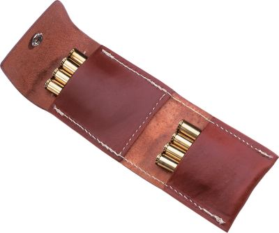 Two-Level Shell Carrier carries or holds 8-10 extra rounds of ammunition and snap closure prevents shells from falling out. Oil finished leather. Belt loops. Available: Standard (.17-.30-06) or Magnum (7mm-.458). - $15.88
