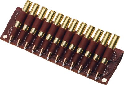 Belt Cartridge Holder holds cartridges independently while worn on your belt. Top-grade oil russet leather. Each loop stitched onto a double leather back. Holds 12 rounds. Fits any belt up to 2 wide. Available: .243, .308, .30-06 size base .300, .375 Mag. size base Type: Belts. - $29.99