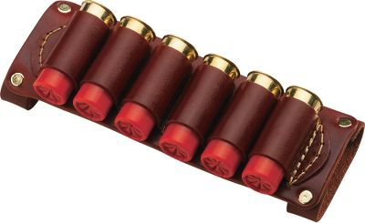 Premium leather belt slide lets you carry six extra shotshells conveniently at your side, providing quick access to spare ammo. Wide enough to slide on any 1-3/4 belt. Oiled walnut finish. Available: 12 or 20 gauge. Color: Walnut. - $24.99