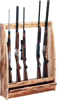 Hunting If you appreciate the look and quality of handmade craftsmanship, you'll love this classic wood gun rack. Made with the finest grade, hand-selected pine logs, this rack is individually handcrafted. The rack is glued and then bolted together. The six-gun vertical rack can be freestanding or hung on a wall. Use the drawer to store gun cleaning supplies, ammo or miscellaneous items. - $114.99