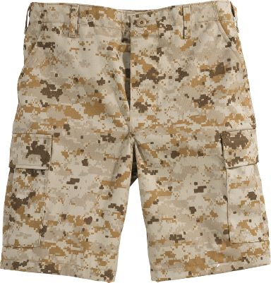 Guns and Military Traditional six-pocket BDU shorts suitable for any hot-weather mission. Features include adjustable waist tabs, two large side pockets, two front slash pockets and two back pockets with snag-proof flaps. Button fly. 60/40 cotton/polyester twill. Imported. Inseam: 10. Sizes: S-2XL. Camo pattern: Digital Woodland, Digital Desert. - $19.88