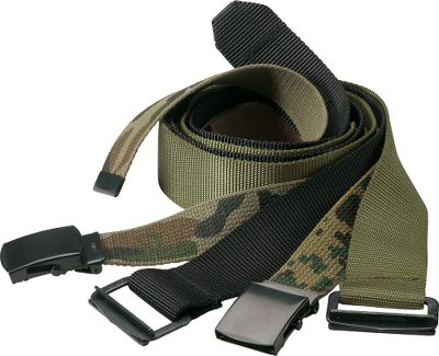 Guns and Military Military Spec BDU Belts are perfect for wear with the Military Spec Rip-Stop BDUs. Camo styles reverse to a solid color. Imported. Sizes: S-3XL, One Size Fits Most. Colors: Woodland, Black, Digital Woodland, Green. Size S M L XL 2XL 3XL One Size Fits Most Waist 27 -31 31-35 35-39 39-43 43-47 47-51 Length: 45 in. Size: XL. Color: Green. Gender: Male. Age Group: Adult. Pattern: Solid. - $14.99