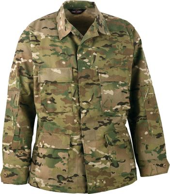 "Guns and Military A high quality 60/40 cotton/poly twill jacket fit for military specifications, law enforcement and first responders. The pattern blends well into varying surroundings and seasons for a versatile choice. Four-pocket design. Chest pockets and partially bellowed lower pockets have drain holes and snagproof button flaps. Adjustable three-button cuffs are 2"" wide. Five-button placket with hidden snagproof snaps. Felled side seams and sleeve. Reinforced elbow patches. Imported.Sizes: M-3XL. Camo pattern: MultiCam . - $34.88"