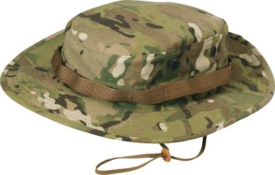 Guns and Military A high-quality 60/40 cotton/poly twill boonie hat fit for military specifications, law enforcement and first responders. The pattern blends well into varying surroundings and seasons for a versatile choice. Adjustable chin strap. Brass screen vents. Imported.Sizes: 6-3/4, 7, 7-1/4, 7-1/2, 7-3/4. Camo pattern: MultiCam . - $6.88